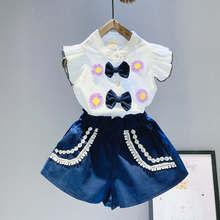 BibiCola/летние комплекты одежды в повседневном стиле для девочек милые комплекты одежды для маленьких девочек Кружевная футболка без рукавов+ шорты комплект из 2 предметов