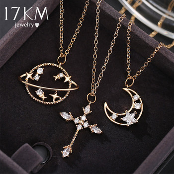 17KM Cute Gift Crystal Planet Moon Pendent Necklace For Women Fashion Gold Rhinestone Star Cross Necklaces Gift Wedding Jewelry