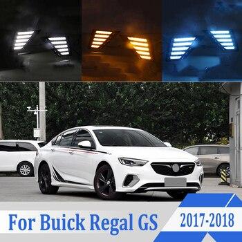 2pcs For Buick Regal GS 2017-2018 LED Daytime Driving Running Light DRL Car Fog Lamp 6000K White Light Turn Yellow Light