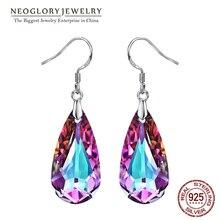 Neoglory cristal violet goutte deau boucles doreilles pour les femmes 2020 nouveau Style cadeaux embelli avec des cristaux de Swarovski
