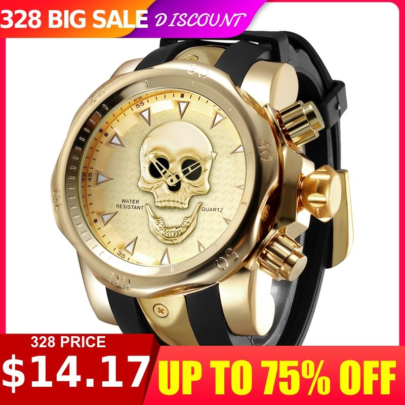 Personality 3d Men's Rotatable Skull Quartz Watch Silicon Strap Fashion Sports Luxury Gold Watch Relogio Masculino  Mens Gifts