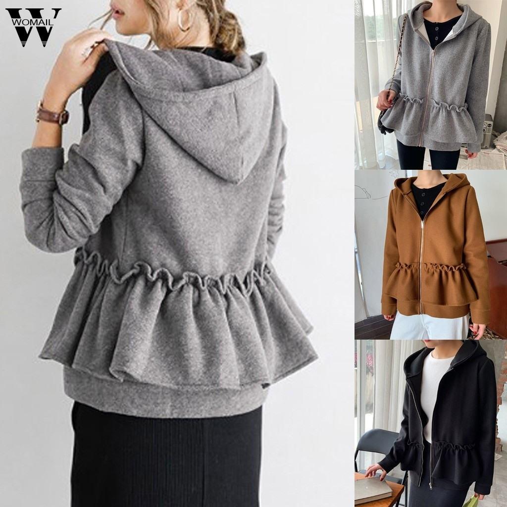 Womail Sweatshirts Women Hoodies Long Sleeve Hoody Zipper Pocket Fashion Women Hoodies Sweatshirt Ruffle Pleated Jacket Outwear