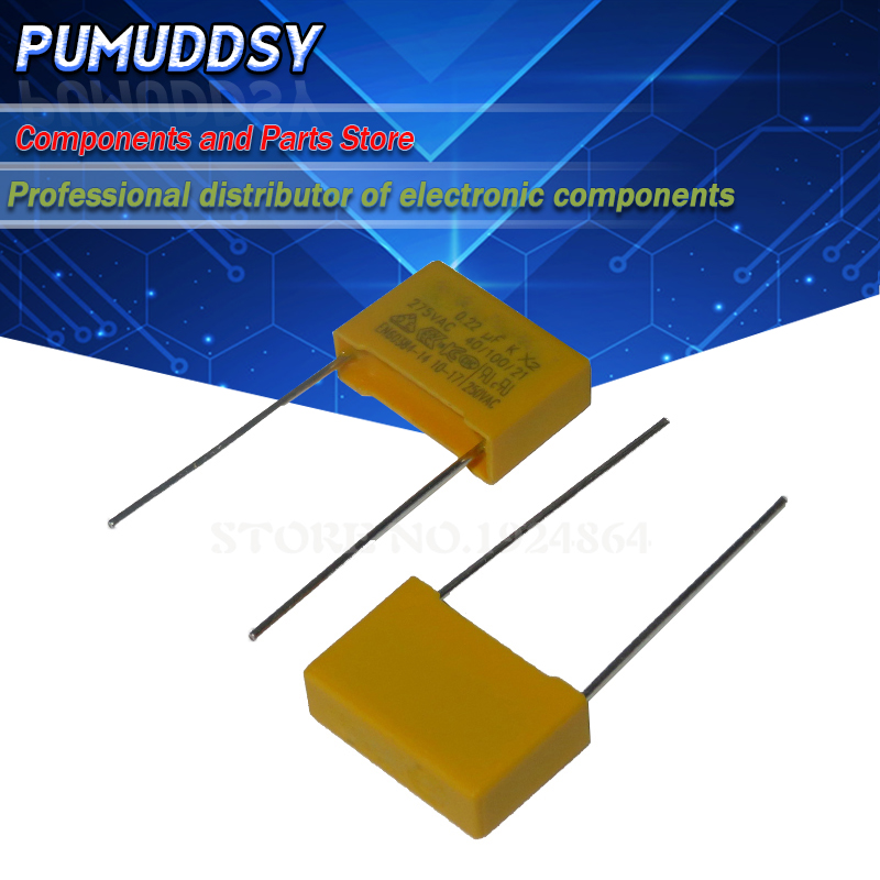 10 шт. 220nF конденсатор с алюминиевой крышкой, X2 конденсатор с алюминиевой крышкой, 275VAC шаг 275V 10 мм X2 полипропиленовый пленочный конденсатор с ...