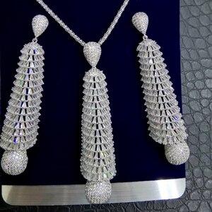Image 1 - GODKI ארוך טאסל DROP 2PC ניגרי שרשרת עגיל תכשיטי סט לנשים חתונה מעוקב זירקון הודי דובאי כלה תכשיטים סטים