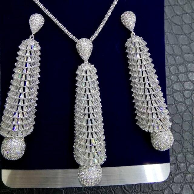 GODKI ארוך טאסל DROP 2PC ניגרי שרשרת עגיל תכשיטי סט לנשים חתונה מעוקב זירקון הודי דובאי כלה תכשיטים סטים