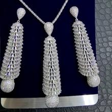 GODKI LANGE QUASTE DROP 2PC Nigerian Halskette Ohrring Schmuck Set Für Frauen Hochzeit Cubic Zirkon Indischen Dubai Braut Schmuck sets