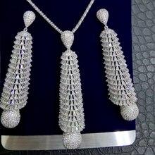 GODKI LONG TASSEL DROP 2PC Nigerian Necklace Earring Jewelry Set For Women Wedding Cubic Zircon Indian Dubai Bridal Jewelry Sets