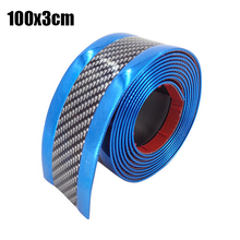 Car Durable Door Sill Protector Carbon Fiber Blue Edge Guard Strip Accessories