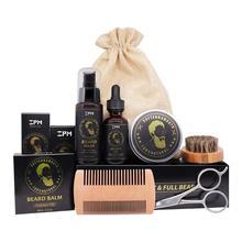 Beard Grooming Care Kit Beard oil Cream Shampoo Peach Comb Bristle Brush Stainless Steel Scissors Gifts for Men Husband