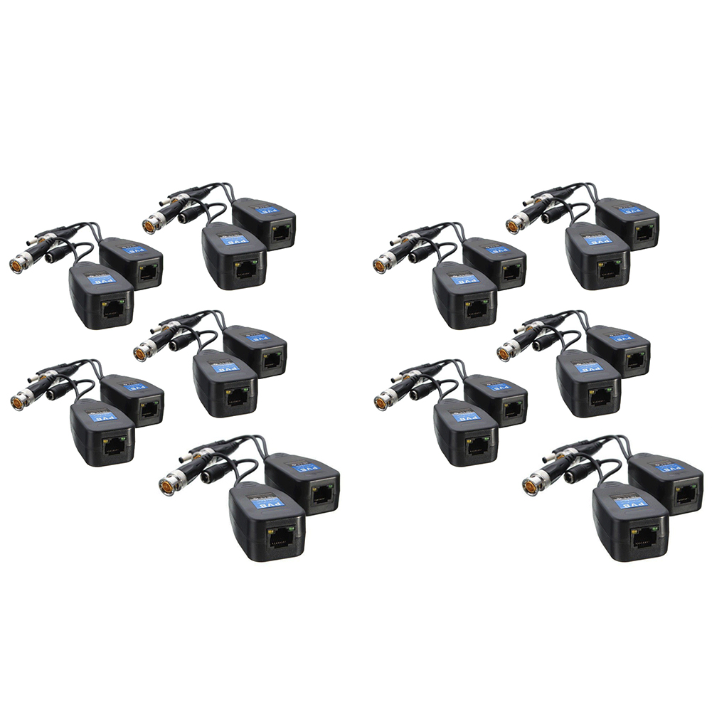 2 In 1 Video Power Coax Durable Adapter Anti-interference Cameras HD Connector ABS CCTV Compact Passive Balun Transceiver