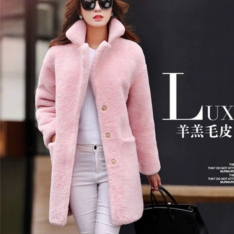 2019 Special Lamb Fur Coat Female Long Sheep Shearing Jacket  One Generation Hair Wool  Windbreaker