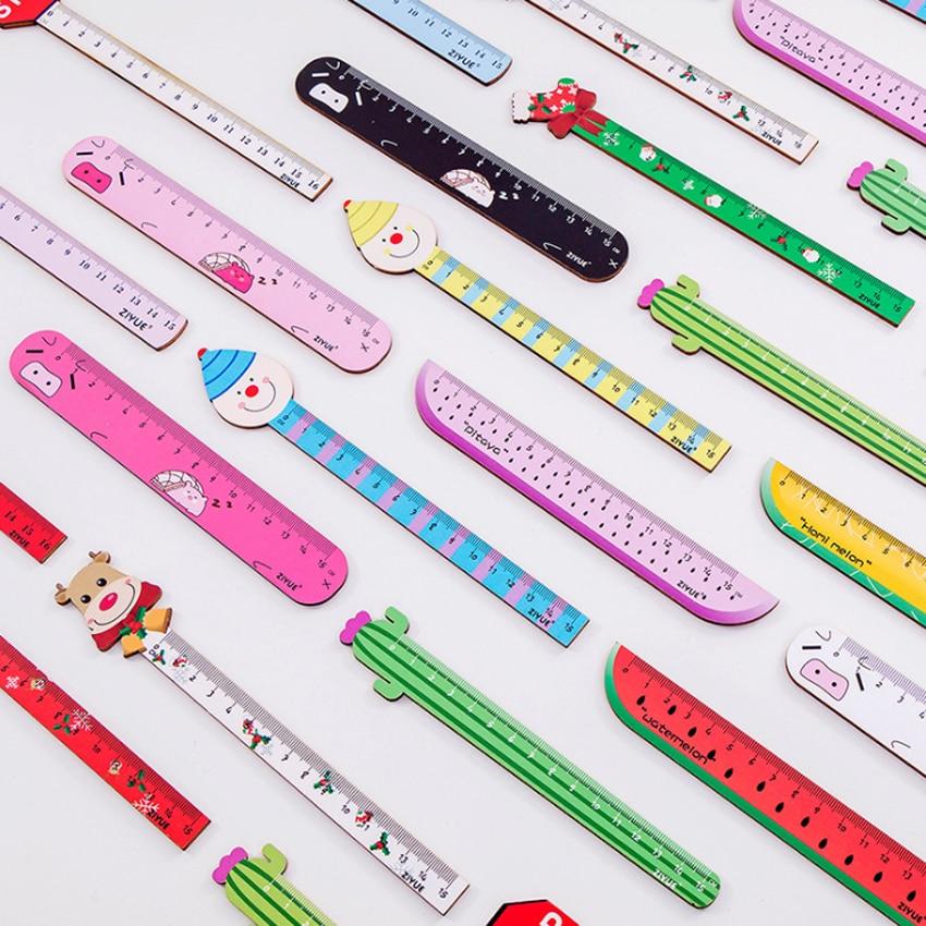 1pcs lot Cartoon Santa Clown cactus design wooden Straight Rule For School Office Supplies Children Korean Stationery Gift