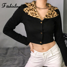 Fitshinling Leopard Velvet Turn-down Collar Sweatshirt Female Patchwork Long Sleeve Cropped Sweatshirts Women Buttons Moletom