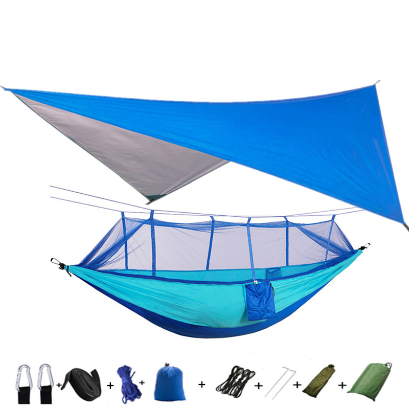 Portable Outdoor Camping Mosquito Net HammockTent With Hammock Canopy High Strength Parachute Hanging Bed Hunting Sleeping Swing