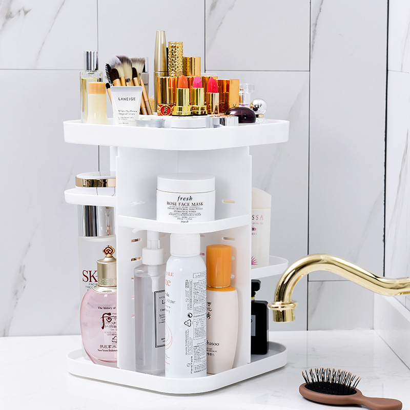 Desktop Square Organizing Storage Shelf 360-Degree Rotating Cosmetic Box Creative Storage Box