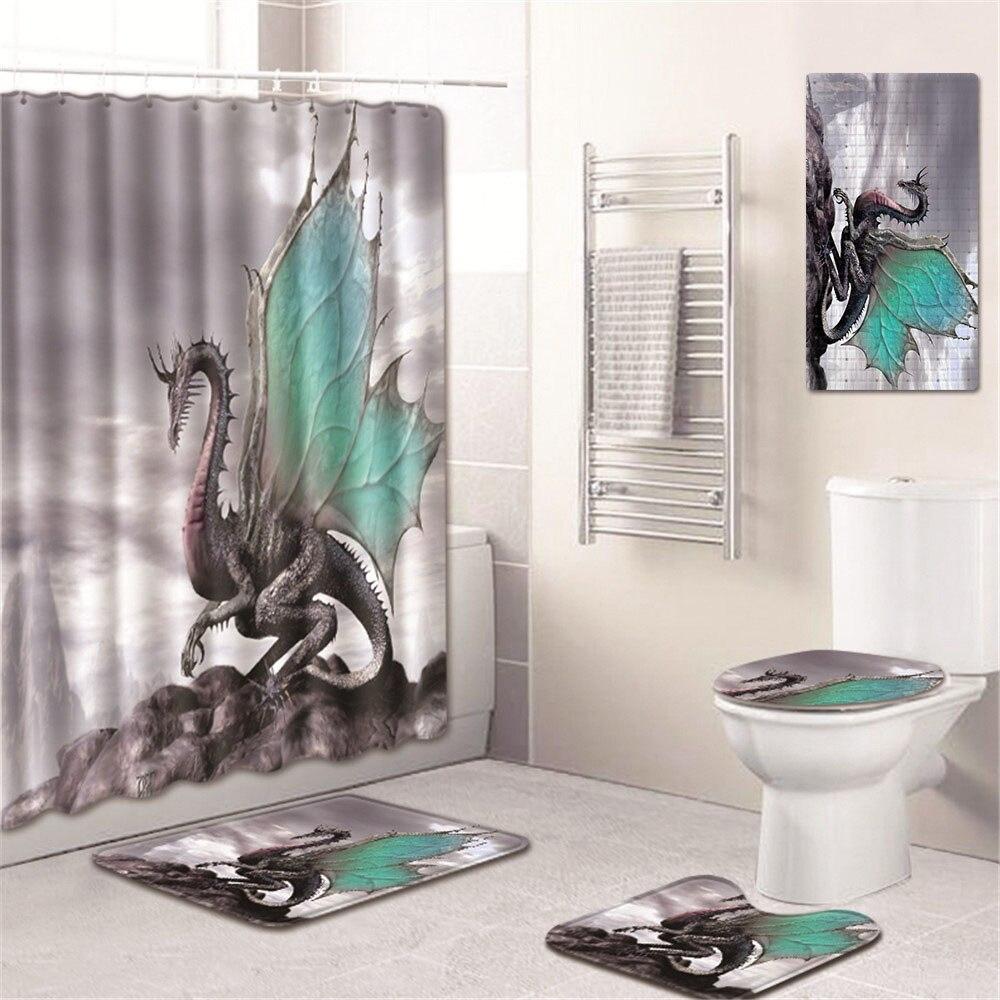5 шт./компл. 3D Шторки для душа с принтом для ванны водонепроницаемый из полиэстера Современный ПВХ на нескользящей подошве для ванной коврик ... - 5