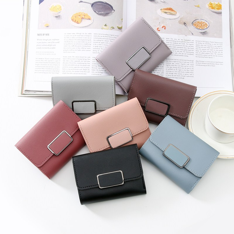 High Quality Women's Wallet Lovely Candy Color Short Leather Female Small Coin Purse Hasp Purse Card Holder For Girls Gifts