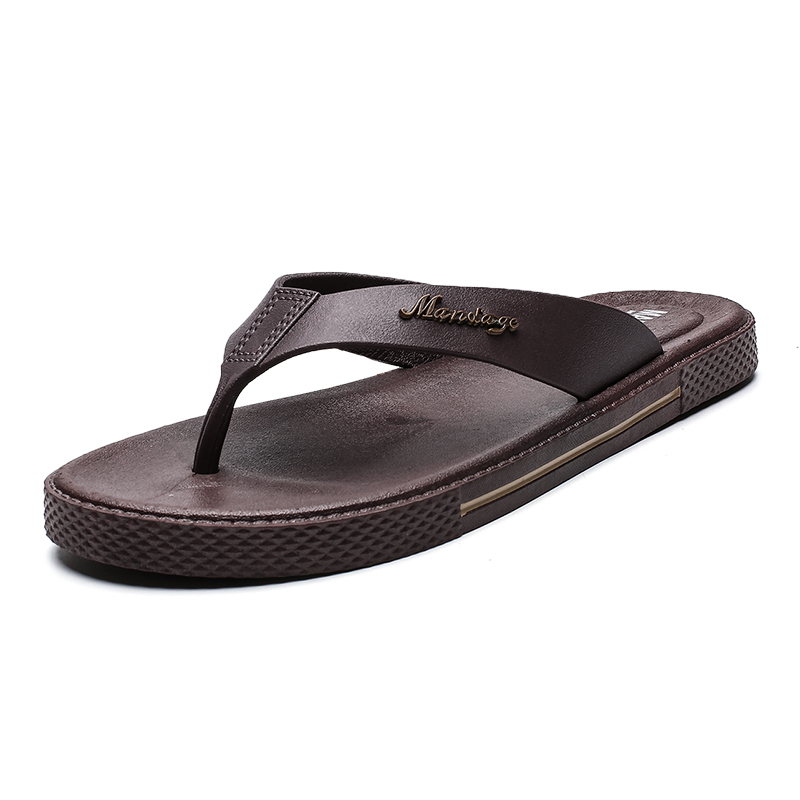 Summer Men Flip Flops Male Slippers Men Casual Leather Shoes Summer Fashion Beach Sandals Zapatos Hombre Size 39~45