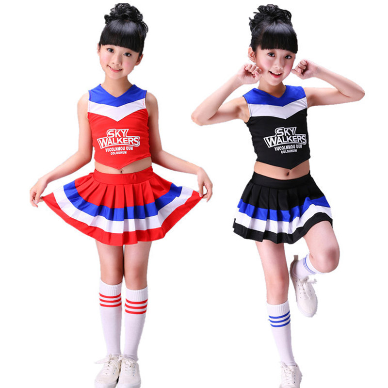 Children Competition Girls Cheerleader Dance Costume Pleated Skirt Set Stage Aerobics Kids Cheer School Uniform Team Uniforms