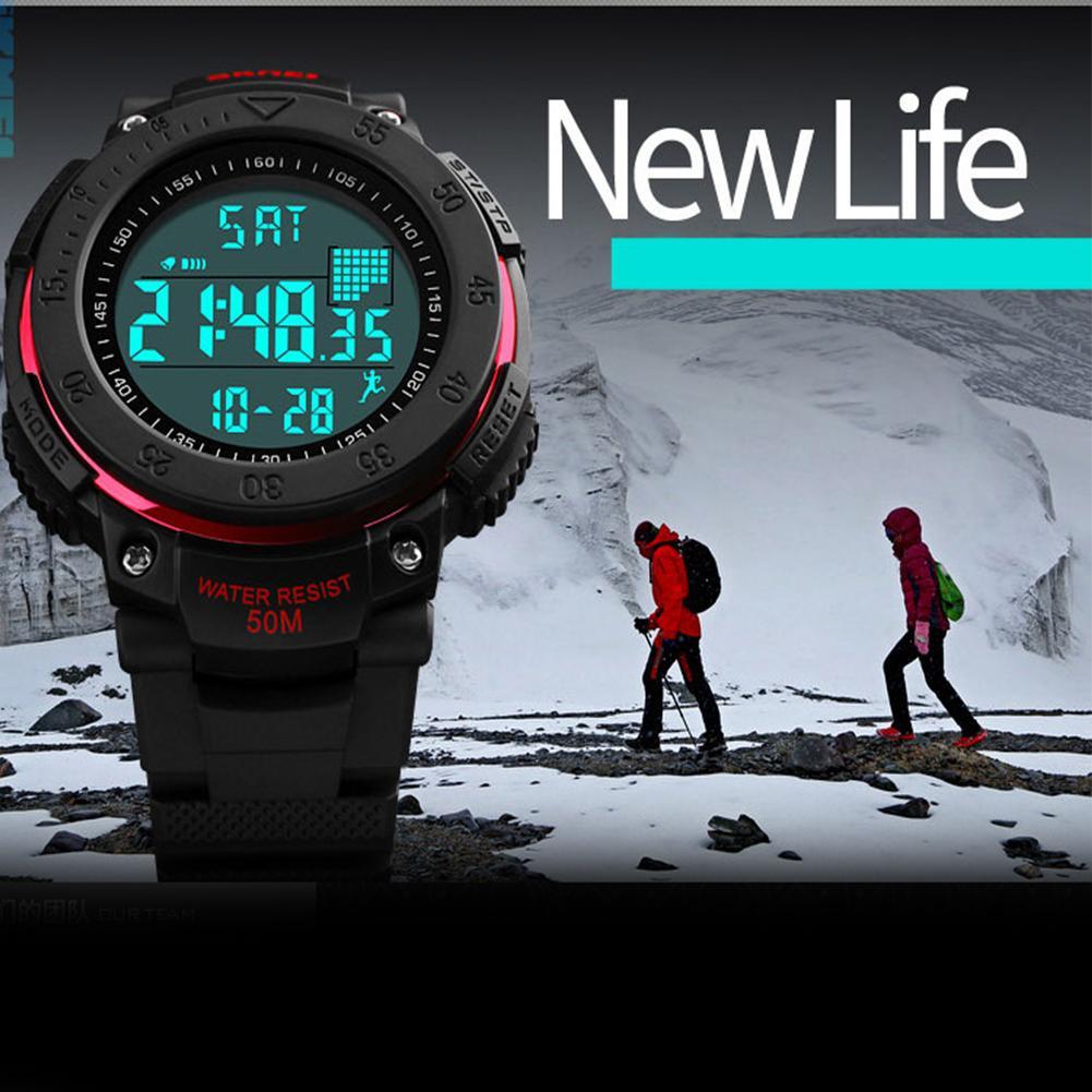 SKMEI 1238 Fashion Men Outdoor Waterproof 3D Pedometer Calendar Stopwatch Sport Wrist Watch