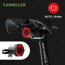 NEWBOLER автоматический старт/стоп вспышка светильник для велосипеда велосипед задний фонарь тормоза зондирование IPx6 Водонепроницаемый светодиодный usb зарядка велосипедный задний светильник