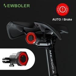 Newboler Auto Start/Stop Senter untuk Sepeda Lampu Belakang Rem Penginderaan IPx6 Tahan Air LED USB Pengisian Bersepeda Belakang