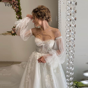 Verngo New 2021 Sweetheart Puffy Sleeve Lace Applique Wedding Dresses For Bridal Long Sleeve Beads Dot Tulle Lace Up Bride Gown lace applique lantern sleeve cold shoulder top