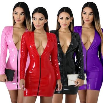 JRRY Women PU Leather Dresses Long Sleeve Zippers High Elasticity Sheath Clothing Deep V Neck Short Outdoor Wear 1