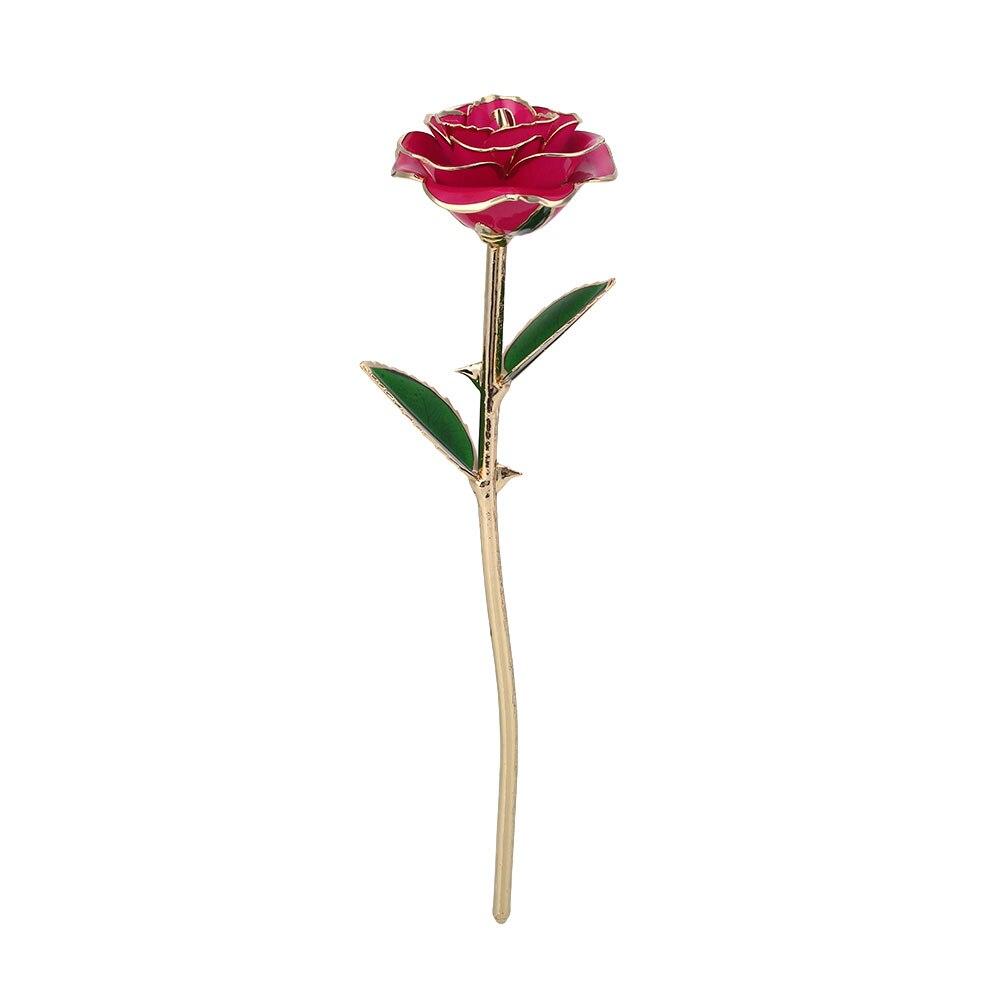 Искусственное растение розы подарок Цветочный декор эмуляционный цветок 10 цветов Золотая фольга реквизит фестиваль ресторан отель орнамент - Цвет: Rose Red