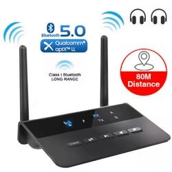 80M Bluetooth 5.0 RCA récepteur émetteur dérivation aptX LL AAC SBC 3.5mm Aux sans fil Audio adaptateur musique pour TV voiture PC casque