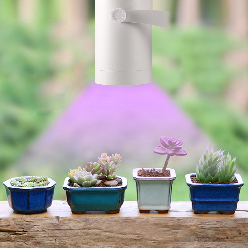 7W White Aluminum LED Plant Grow Light 360 Degree Adjustable Indoor Plant Lights With Clip With Heat-sink Metal Design
