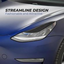 2pcs Car Headlight Cover Eyelids Eyebrow For Tesla Model 3 2017-2020 Black Carbon Fiber Look  Eyelid Trim
