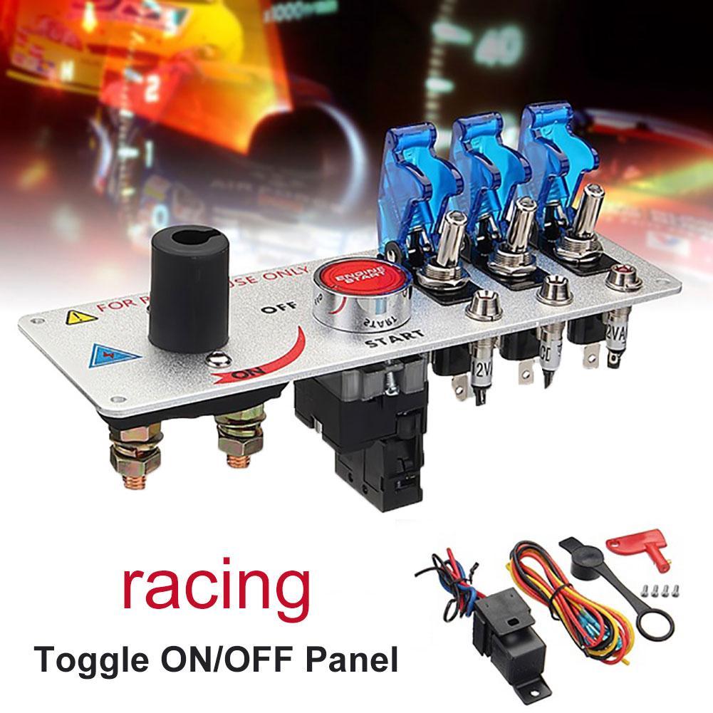 Panneau d'allumage du moteur de voiture, avec bouton d'allumage, démarrage/arrêt automatique, 12V, LED de course
