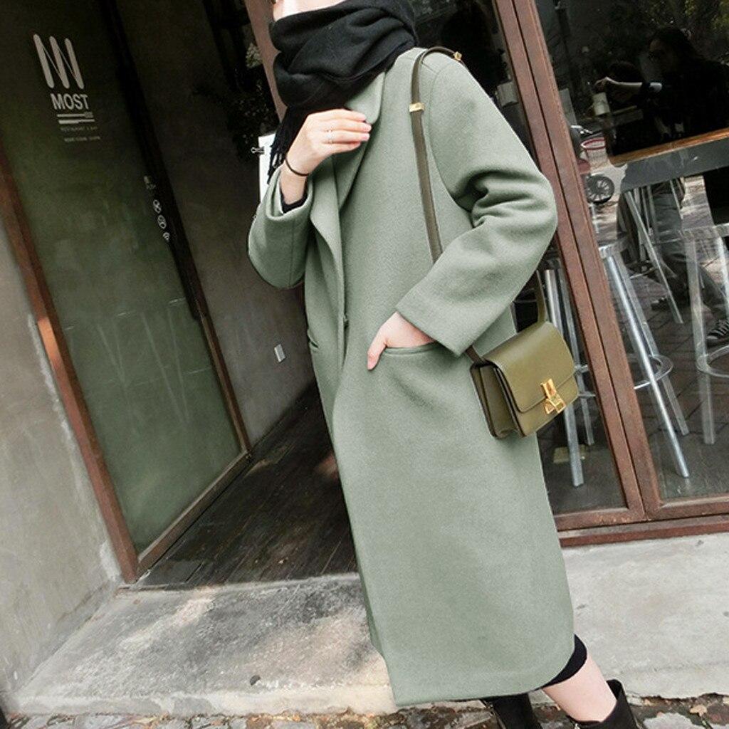 Women Winter Warm Trench Long Coat Outwear Lapel Wool Jacket Overcoat Plus Пальто Пальто Женское Coat Пальто Manteau Femme