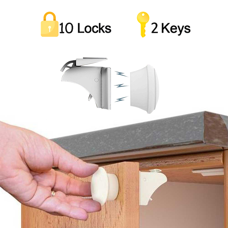 Child Protection Magnetic Lock Safety Baby Door Striker Magnet Locks Commonly Used Cabinet & Drawer Household Rooms 4Locks+1Key
