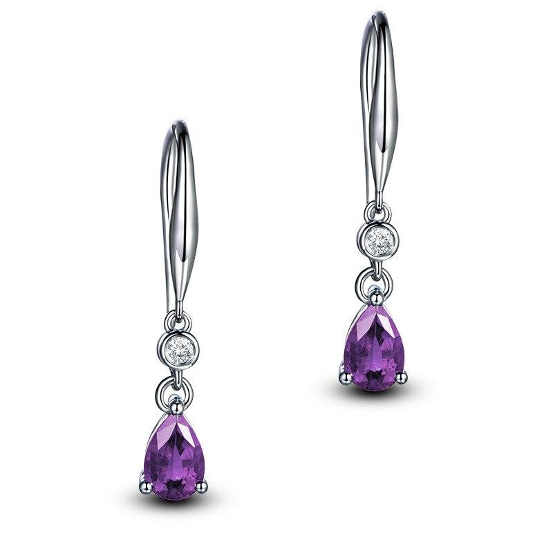 Jellystory Trendy Silver 925 jewelry Earring with Water Drop Shaped Sapphire Gemstones Earrings for Women Weddings Party Gifts