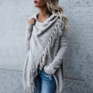 Vicabo Sweater Cardigans Capes Poncho Irregular Long-Sleeve Women Fashion Spring-Knit