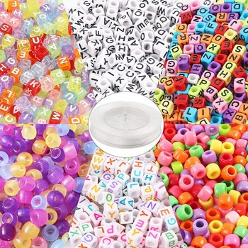 1500 Assorted Acrylic Plastic Beads, Including 4 Types of Alphabet Beads, 1 Set of Large Hole Beads, 1 Set of UV Beads, 50 Meter фото