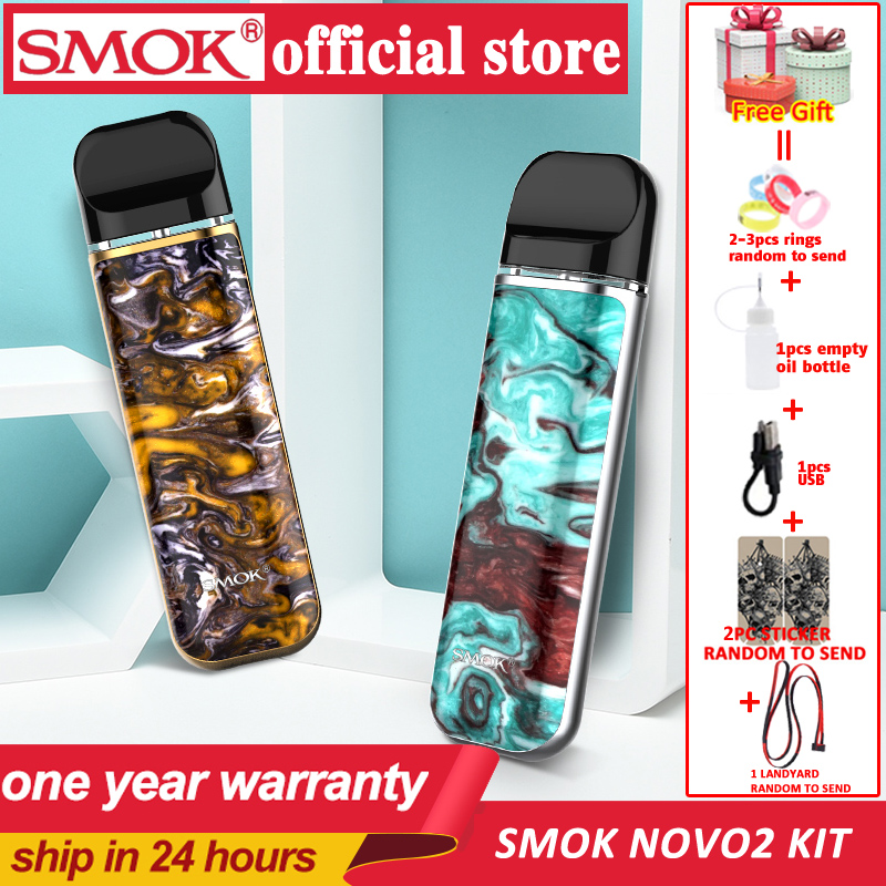 New SMOK Novo 2 Pod Starter Kit Electronic Cigarette Vape 800mAh Battery 2ml Cartridge Pod Atomizer Mesh 1.0ohm DC MTL Vaporizer