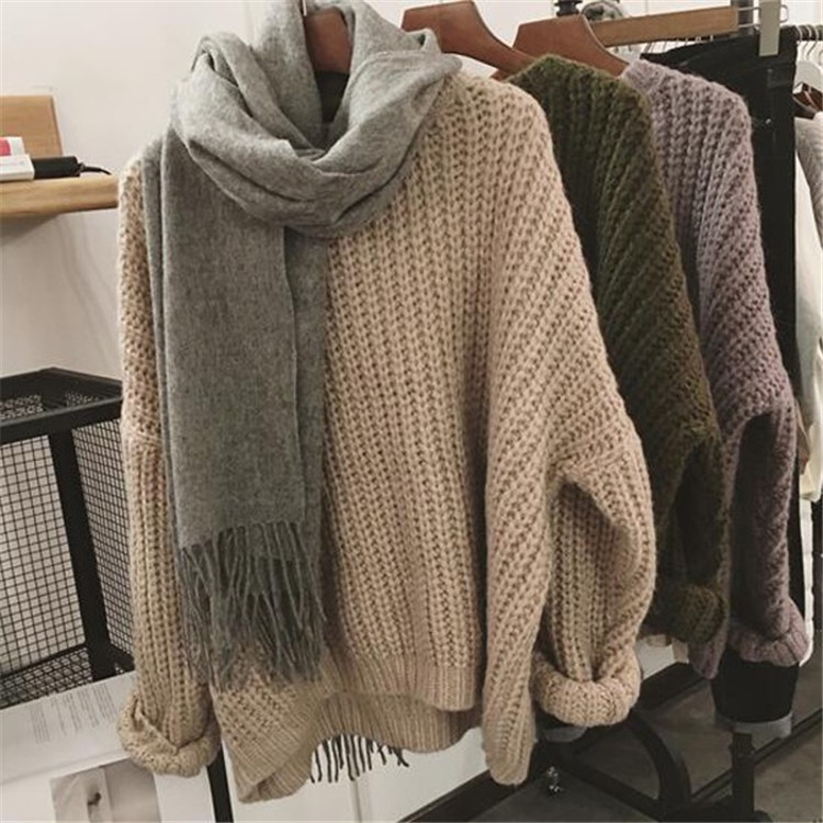 Wool Knitting Pullover Sweater Women Casual Vintage Loose Long Sleeve O-neck Tops Outwear Sweater