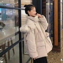 2019 New Fox Fur Hooded Winter Jacket Women Long Sleeve Slim White Duck Down Coat Female Fashion  Zipper Pockets Outwear цена 2017