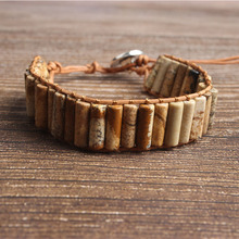 LanLi natural Jewelry  brown picture stone knit bracelet men and women Giving presents self use