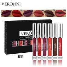 VERONNI 6Pcs/Set Matte Liquid Lipstick Lip Gloss Kits Makeup Lipgloss Long Lasting Cosmetics Maquiagem