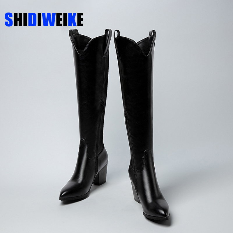 2021 Designer Western Black KneeHigh Boots For Women Pointed Toe Cowboy Boots Chunky Square heel Boots Runway Ladies Motorcycle