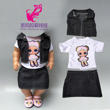 Baby new born Doll clothes jeans vest shirt and skirt for 18 inch girl doll coat white shirt denim dress set(China)
