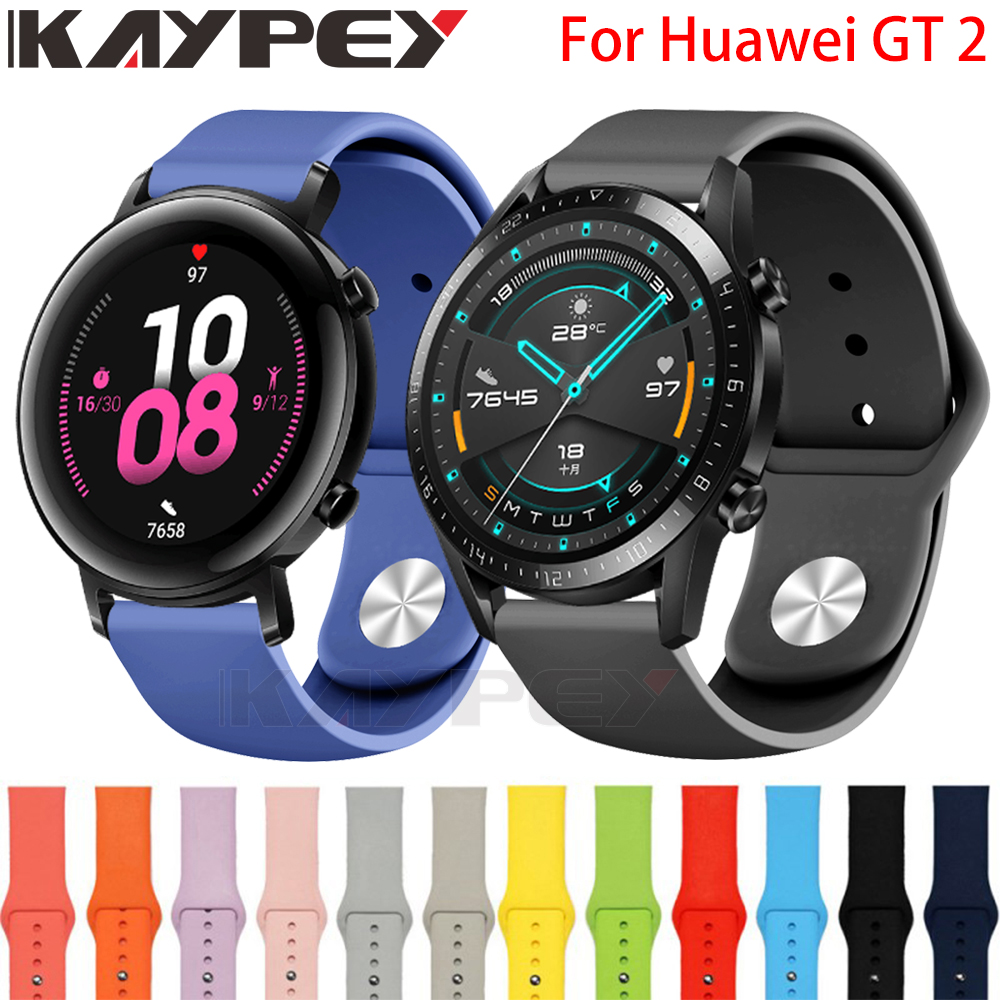 Silicone Soft Strap For Huawei GT 2 42MM 46MM Smart Watch Wearable Wrist Bracelet For Huawei GT2 GT Watchband Strap Accessories