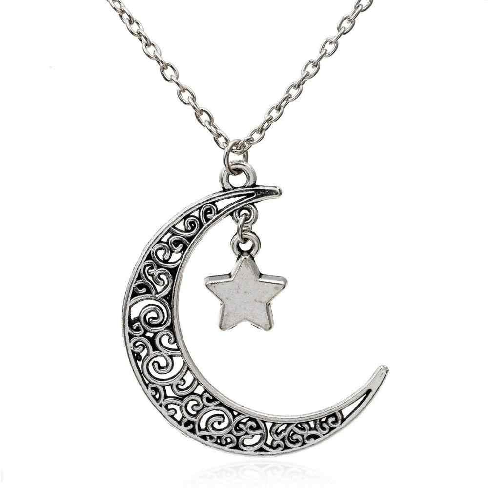 2020 Collar de plata color Luna encanto joyería de moda collar caliente-media luna gargantilla de estrellas colgante ahuecado collar Retro