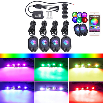 RGB LED Rock Lights Kit with Bluetooth Controller, Timing Function, Music Mode For Car Truck ATV UTV Kayak Polaris RZR Off Road