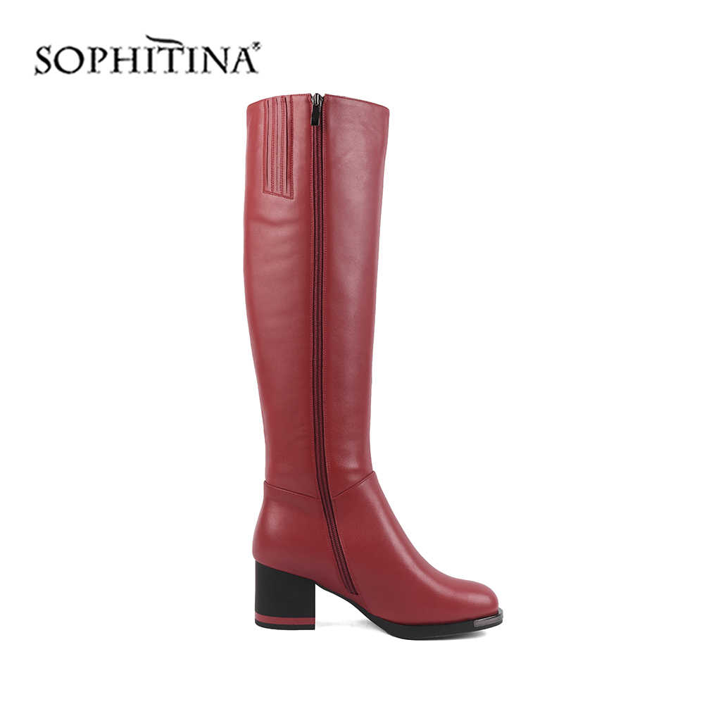 SOPHITINA Mode Farbe Design Stiefel Hohe Qualität Kuh Leder Spezielle Platz Ferse Runde Kappe Mode Schuhe Neue Frauen Stiefel SC478
