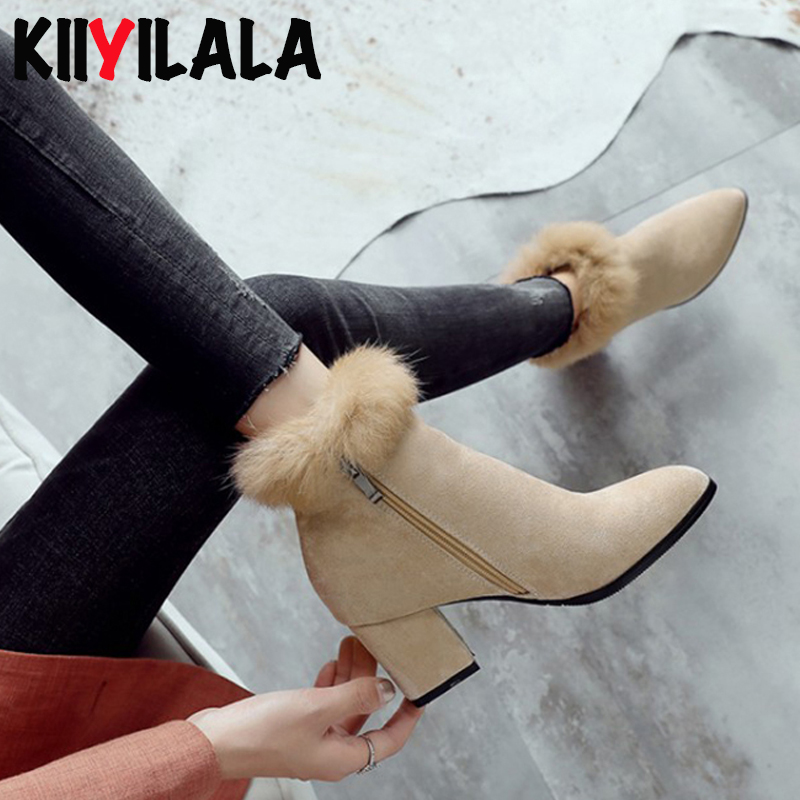 Kiiyilala Real Rabbit Fur Flock Boots Women Pointed Toe Ankle Boots Square Heel Side Zipper Winter Short Plush Warm Womens Boots in Ankle Boots from Shoes